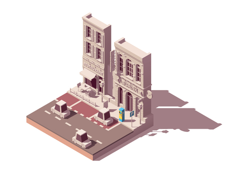 Vector isometric city street car parking with pay and display ticket machine and with marked car parking spaces and buildings nearby