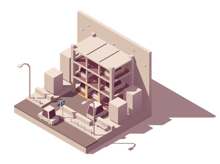 Vector isometric modern automated multi-storey car parking system on the city street