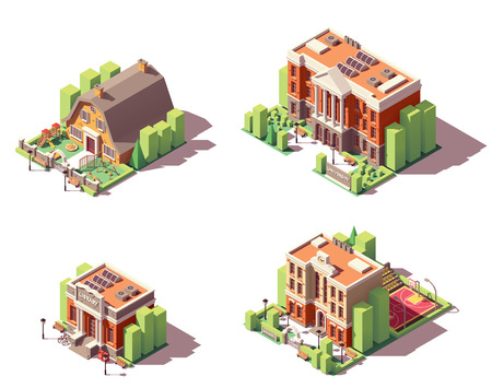 Vector conjunto de edificios educativos isométricos. Incluye edificios de la escuela, preescolar o jardín de infantes, universidad y biblioteca. Ilustración de vector