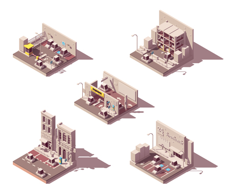 Vector isometric car parking icons Çizim