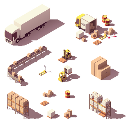 Vector isometric low poly warehouse objects and equipment. Trucks and crates, pallets, warehouse conveyor system, pallet racking systems, forklifts