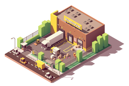 Vector isometric low poly warehouse building with truck Illustration