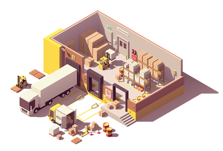 Vector isometric low poly warehouse building cross-section