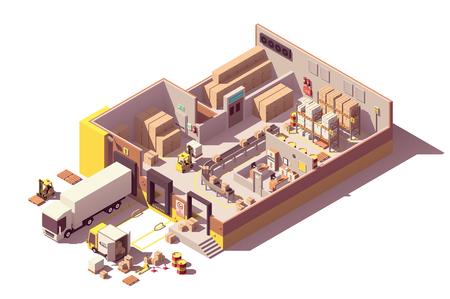 Sección transversal del edificio del almacén de poli baja isométrica del vector Ilustración de vector