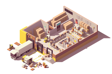 Vector isometrische laag poly magazijn gebouw dwarsdoorsnede Vector Illustratie