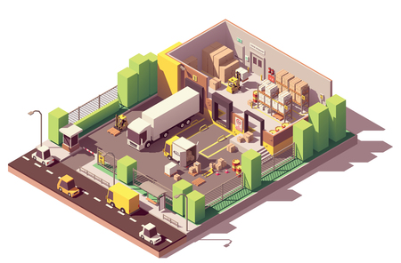 Vector isometric low poly warehouse cross-section. Includes trucks, crates and pallets, loading docks, building interior, pallet racking systems, stacks of cardboard boxes, forklift, security camera