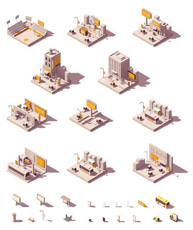 Vector isometric outdoor advertising icon set