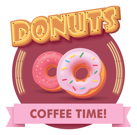 Vector donut or doughnut icon with retro neon sign. Illustration or label for fast food restaurant menu