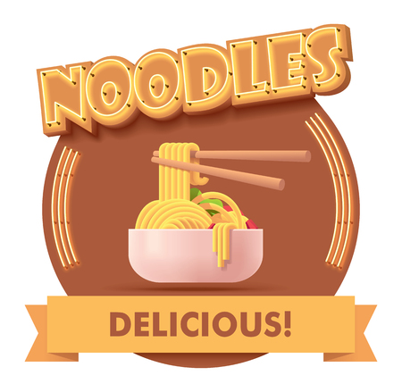 Vector Chinese noodles icon with retro neon sign. Illustration or label for fast food restaurant menu Illusztráció