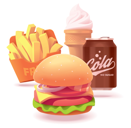 Vector fast food restaurant burger set icon. Includes illustrations of burger, French fries, ice cream cone and soda can Illusztráció