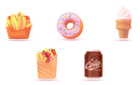 Vector fast food icon set. Includes illustrations of French fries or fried potato, donut, ice cream cone, burrito and soda can