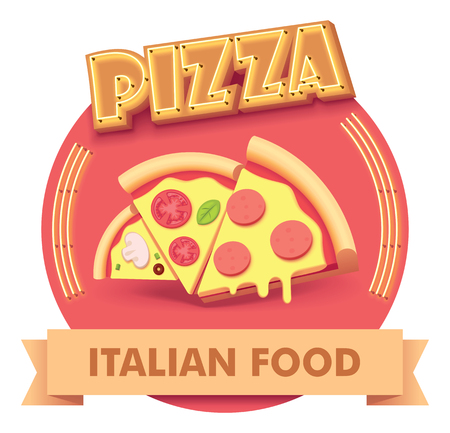 Vector pizza icon with retro neon sign includes three different pizza slices. Illustration or label for fast food restaurant menu