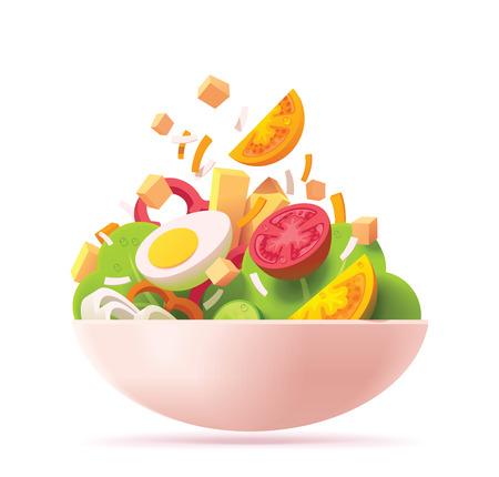 Icono de ensalada verde de vector. Incluye tomate rojo y naranja, lechuga, queso, huevo, pimiento rojo, crutones y cebolla.