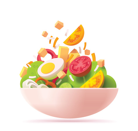 Vector green salad icon. Includes red and orange tomato, lettuce, cheese, egg, red bell pepper, croutons and onion Çizim