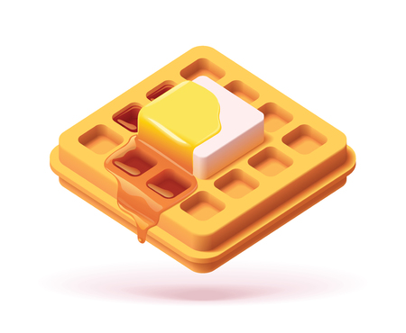 Vector waffle with butter and pouring maple syrup icon
