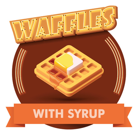 Vector waffle with butter and maple syrup icon with retro neon sign. Illustration or label for fast food restaurant menu Vectores