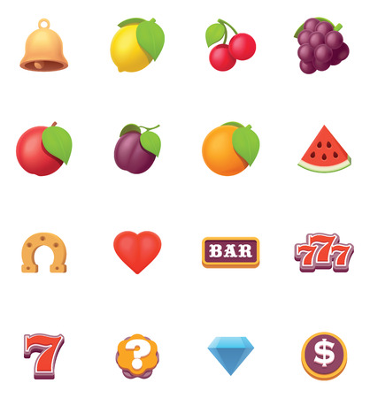 Vector slot machine or slots symbols and icons set.