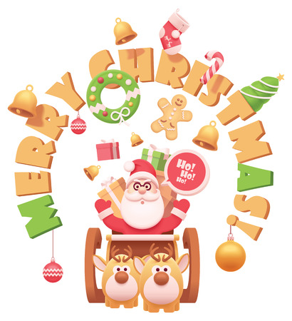 Vector Santa Claus on sleigh with reindeers with gifts and Christmas related objects