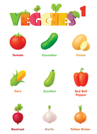 Vector vegetables icon set. Includes colorful and bright tomato, cucumber, potato, maize or corn, zucchini, bell pepper, beetroot, garlic and onion icons Ilustração