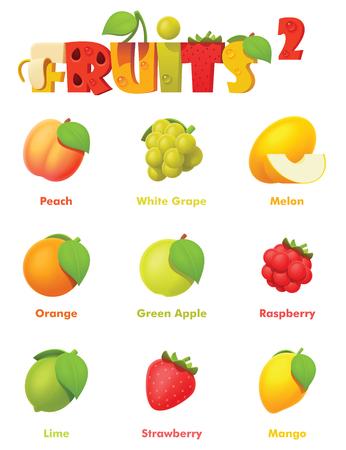Insieme dell'icona di frutta vettoriale