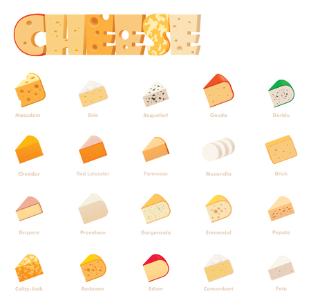 Vector cheese types icon set. Includes various cheese types - maasdam, brie, gouda, mozzarella, swiss cheese, parmesan, emmental, camembert, cheddar, feta, dorblu and other popular cheeses Illustration