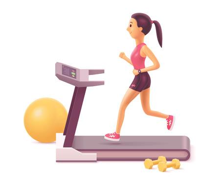 Ilustracja wektorowa dziewczyny lub młodej kobiety biegającej na bieżni w siłowni lub w domu