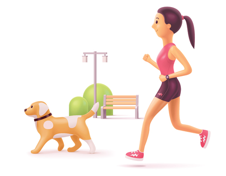 Vector woman jogging in park with dog along the bench and lantern