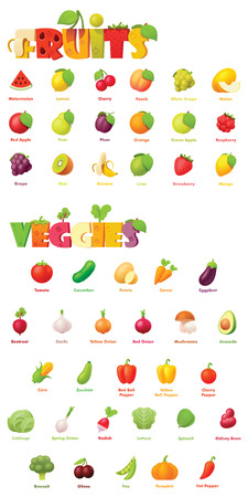 Vector fruits and vegetables icon set. Includes apples, grapes, banana, watermelon, plum, orange, pear, strawberry, tomato, potato, bell pepper, garlic, onion and other icons