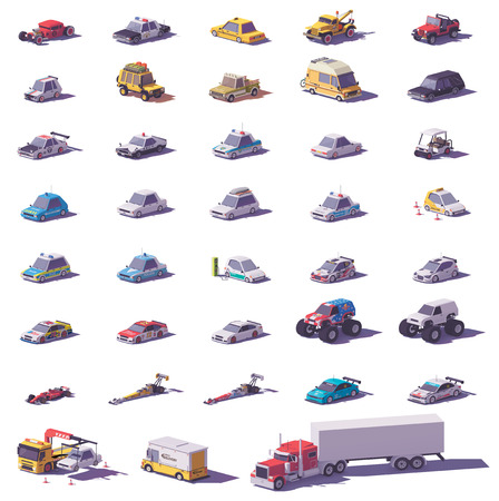 Vector cars and trucks collection. Includes cars, sports cars, SUV, trucks, monster truck, electric vehicle and police transport Illustration
