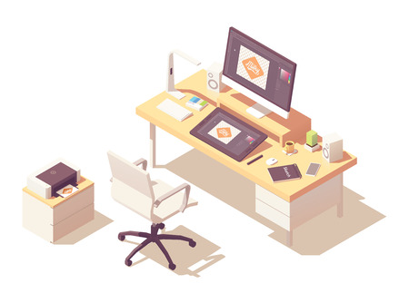 Graphic designer home office or studio workspace. Vector isometric room cross-section with desk, desktop pc, graphic tablet, sketch book, office chair, printer and stylish lamp Illustration