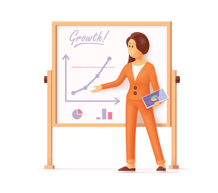 Mujer joven de pie cerca del tablero de escritura del rotafolio y mostrando con presentación de mano, gráficos y diagramas de crecimiento, sosteniendo la tableta digital en la otra mano. Informe de actividad empresarial, seminario, resultados financieros, datos de marketing. Ilustración vectorial