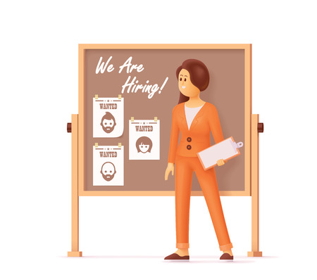 Businesswoman or company HR manager is hiring new staff and showing vacancy available jobs, holding clipboard in other hand. Head hunter, human resource management professional, searching employees. Vector illustration