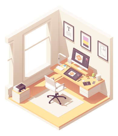 Isometric graphic designer workplace Ilustracja