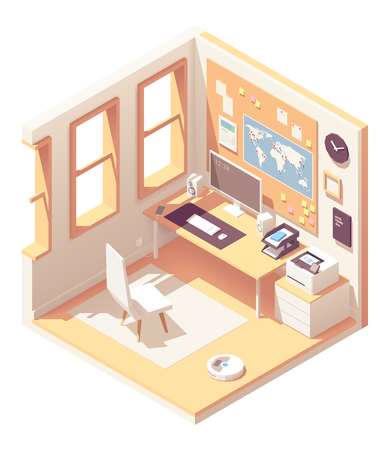 Vector isometric home office room 向量圖像