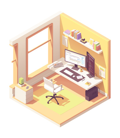 Programmer or software developer home office workspace. Vector isometric room cross-section with desk, desktop pc, two computer monitors, laptop, office chair, programming books on the shelve