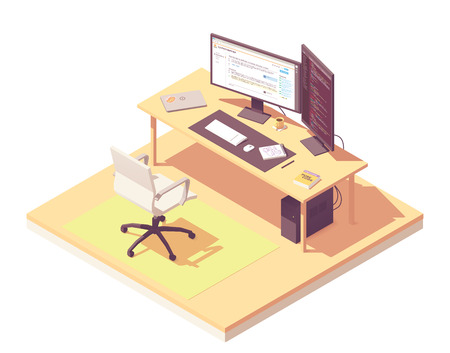 Coder or programmer office workspace. Vector isometric room cross-section with desk, desktop pc, two computer monitors, laptop, office chair, programming book Иллюстрация