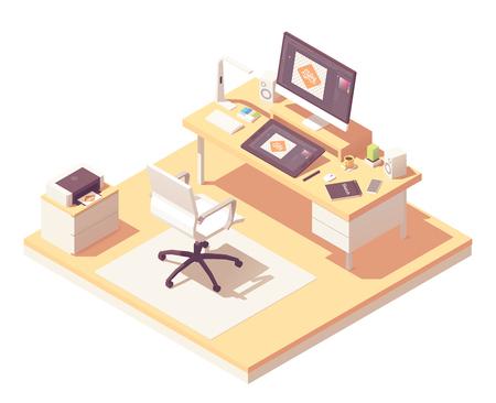 Isometric graphic designer workplace Illustration
