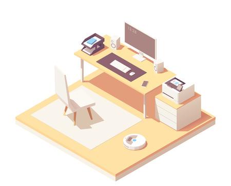 Wektor izometryczny pokój biurowy Ilustracje wektorowe