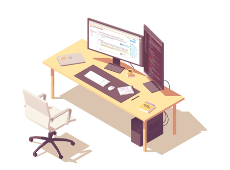 Coder or programmer office workspace. Vector isometric desk, desktop pc, two computer monitors, laptop, office chair, programming book Illustration