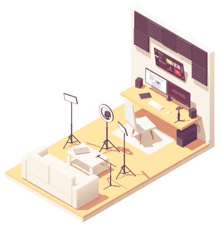 Vlogger or Video blogger studio workspace. Vector isometric room cross-section with acoustic panels, desk, desktop pc, DSLR camera, studio lighting kit, microphone and smartphone with steadicam Illusztráció