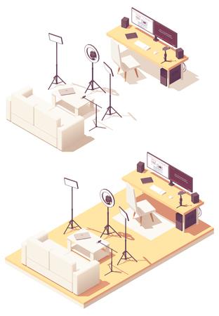 Vlogger or Video blogger studio equipment. Vector isometric room cross-section desk, desktop pc, DSLR camera, studio lighting kit, microphone, smartphone with steadicam and sofa