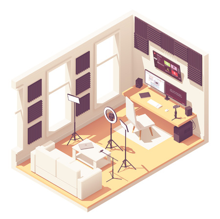 Video blogger or vlogger home studio workspace. Vector isometric room cross-section with acoustic panels, desk, desktop pc, DSLR camera, studio lighting kit, microphone and smartphone with steadicam