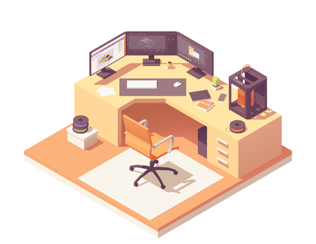 3d modeling artist office or studio workspace. Vector isometric room cross-section with desk, 3d printer, desktop pc with multi-display setup, office chair, 3d printer filament spools