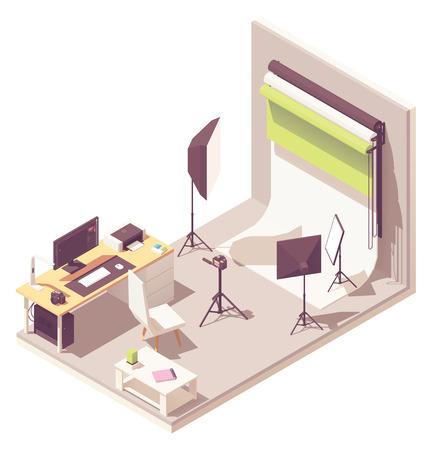 Vector izometryczne studio fotograficzne ze sprzętem oświetleniowym, białym i kolorowym tłem, aparatem na statywie, biurkiem fotografa z komputerem i drukarką fotograficzną