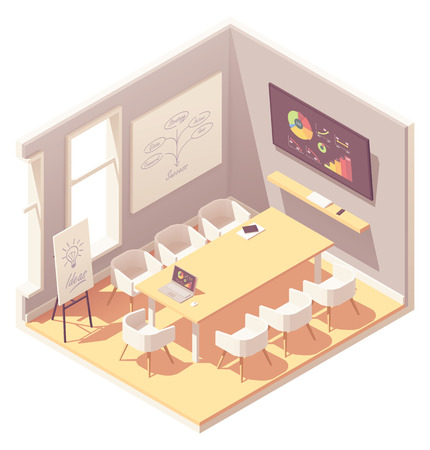 Vector isometric office conference or meeting room interior. Big desk, chairs, tv screen showing presentation charts, laptop Standard-Bild - 126597912