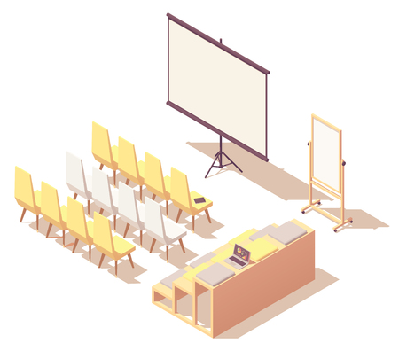 Vector isometric presentation room interior Illustration