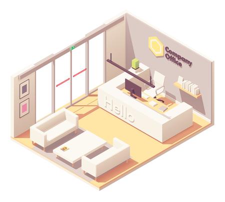 Wektor izometryczne biuro lobby recepcji lub wnętrze recepcji. Automatyczne szklane drzwi, lada recepcyjna z miejscem pracy recepcjonisty, sofa i fotele dla gości Ilustracje wektorowe