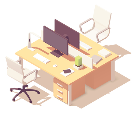 Vector isometric office desk 向量圖像