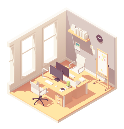 Vector isometric office room interior. Wooden desk with desktop monitors, bookshelf, office chairs, flip chart board and other office equipment, furniture and stationery Illustration