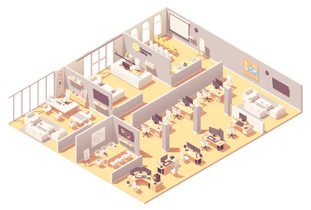 Interiore dell'ufficio aziendale isometrico di vettore. Reception, sala conferenze, sala presentazioni, ufficio dirigenziale o CEO, altri luoghi di lavoro con computer, apparecchiature per ufficio e area ricreativa